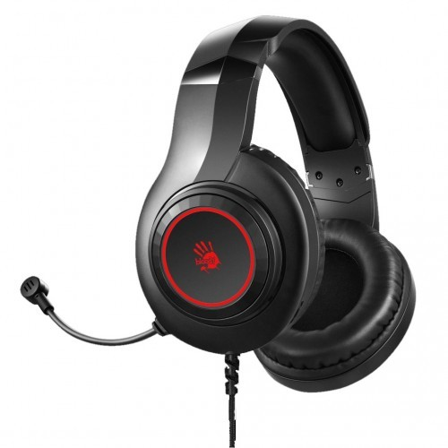 A4 Tech Bloody G220 Stereo Built in Metal Adjustable Headband Leather Padded Headband Large Ergonomic Soft Leather Ear Pads 7 Color Circular Breathing LED Backlight Adjustable Volume Control Knob Single Directional Noise Cancelling Mic Gaming Headphone