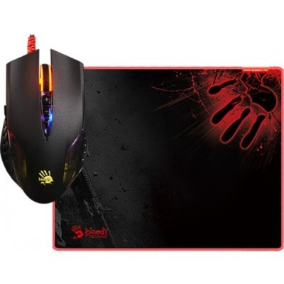 A4 Tech Bloody Q8181S 3 Neon Lighting Effects 500-3200 CPI Adjustable Metal X Glide Armor Boot with X-Thin Gaming Mouse PAD Gaming USB Mouse