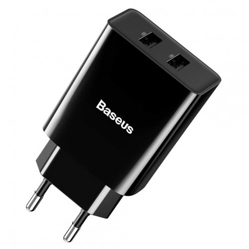Baseus Black Speed Mini Dual USB Travel Charger with Safety Protection#CCFS-R01