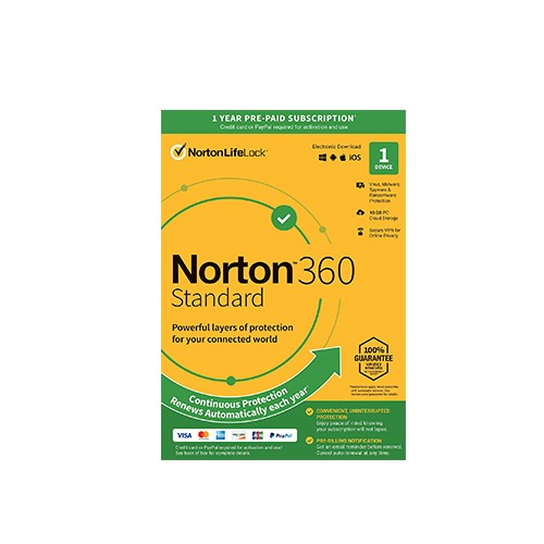 Norton 360 Standard 10GB PC Cloud Storage 1 User 1 Device MacOS/Windows/iOS/Android Virus, Malware, Spyware & Ransomware Protection Secure VPN For Online Privacy 1 Year Subscription Antivirus #21409760