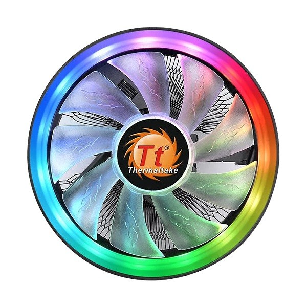 Brand - Thermaltake, Model - Thermaltake UX100 ARGB Lighting, Cooler Type - Air CPU Cooler, Dimension (Heat Sink/Radiator) - 122.3 x 122.3 x 66.1 mm (Heat Sink), Fan Size (Height) - 120mm, Fan Air Flow - 38.82CFM, Fan Dimensions - 120 x 120 x 25mm, Fan Air Pressure - 1.48mm-H2O, Fan Speed - 1800 RPM, Fan Noise Level - 26.92dBA, LED Color - ARGB, Power Consumption - 4.2 W, Fan Power Connector - 65 W, Supported Socket - Intel LGA 1156/1155/1151/1150/775, AMD AM4/FM2/FM1/AM3+/AM3/AM2+/AM2, Fan Rated Current - 0.35 A, Fan Rated Voltage - 12V, Speciality - 16.8 M TRUE RGB COLOR, SYNC WITH MOTHERBOARD RGB SOFTWARE, HIGH VOLUME AIRFLOW DESIGN, RELIABLE HYDRAULIC BEARING, 9-high air flow blade, hydraulic bearing, and 16.8 million colors of 15 ARGB LEDs that is ready to sync 5V RGB enabled motherboards, Others - HEATSINK MATERIAL: Aluminum Fins, RATED VOLTAGE: 12V, START VOLTAGE: 6.0 V, RATED CURRENT: 0.35 A, POWER INPUT: 4.2 W, LIFE TIME/FAN LIFE TIME: 30,000 hours, COOLING POWER: 65 W, DIMENSION: 122.3 x 122.3 x 66.1mm, Part No - CL-P064-AL12SW-A, Warranty - 1 Year
