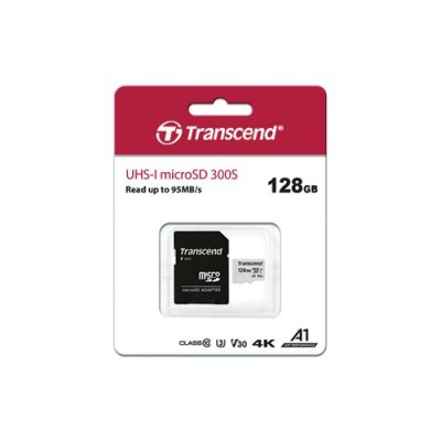 Transcend 300S 128GB UHS-I MicroSD Class 10 Read Up to 100MB/s 4K with Adapter Memory Card