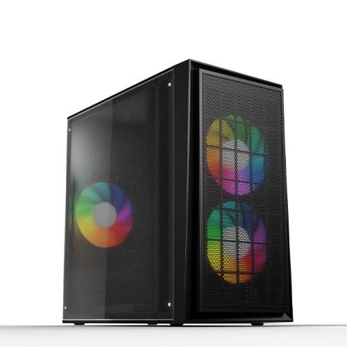 Value-Top VT-P300 Micro ATX 1 x USB 2.0 1 x USB 3.0 3x12cm 3 Color Static Fan & Full Size Acrylic Panel with Power Supply Casing