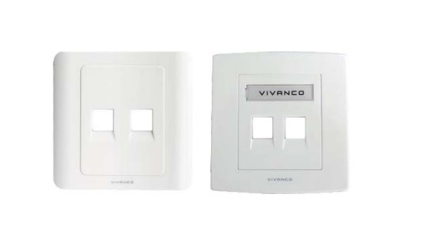 2-Port Face Plate with Shutter ( With Label Management 86 X 86 MM) VCA20
